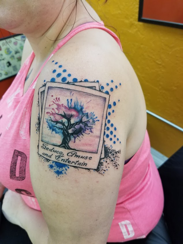 Trash Polka with Watercolor tree